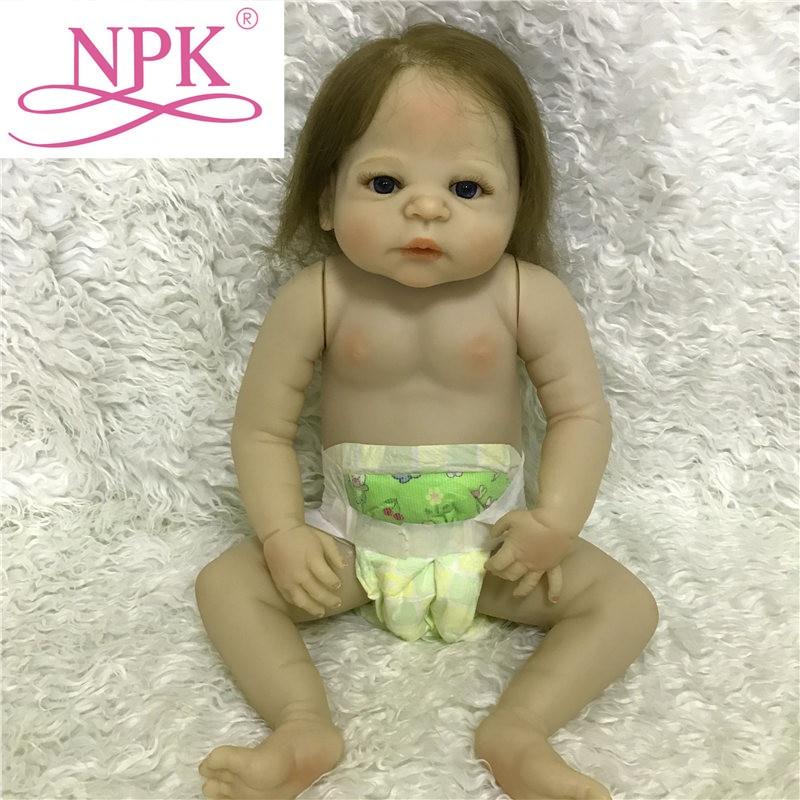 NPK 57CM Naked Silicone Baby Boy Dolls With Full Silicone Body 23inch Full Silicone Naked Baby