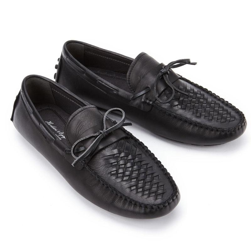 Casual De Luxe Respirant Noir Mocassins Haut Douce Cuir Lumière Mycolen Mode Chaussures Hommes Marque En Plat t4qxzI