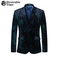Mens Printed Blazers Casual Big Size Men Slim Fit Velvet Blazer Jacket Hombre Wedding Prom Blazers for Men Suit Coat Men DT425