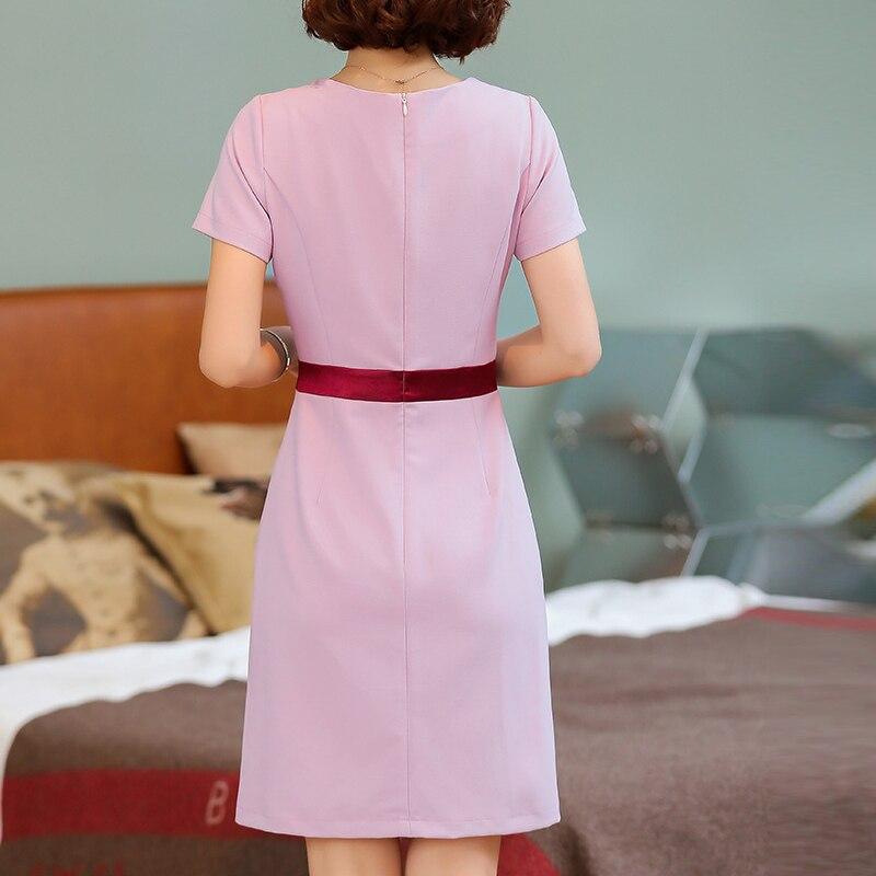 Plus la Taille Robe Femmes Splice OL tempérament Robe O Cou à Manches courtes Élégant Slim A-ligne Robe 2019 d'été S-4XL bleu /rose - 3