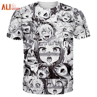 Alisister Ahegao Print T Shirt Men Women Harajuku Face Red Woman T Shirts Funny Shy Girl