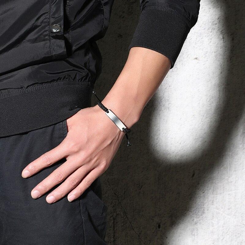 Free Engraving Name Plate ID Tag Adjustable Rope Bracelet for Men Women Kids Bangle Unisex Jewelry Pulseira Braslet