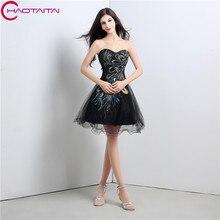 2017 Diseñador Short Negro Blanco Vestidos de Cóctel de Gasa Mini Una Línea de longitud de la rodilla del Regreso Al Hogar Del Partido de coctail vestido