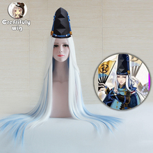 100cm Onmyoji Abe No Seimei Game Cosplay Wig Long Straight Halloween Costume White Blue Ombre Hair Wigs + wig cap
