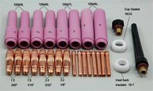 TIG Consumables KIT Long Alumina Nozzle Cups Collets Bodies FIT TIG Welding Consumables PTA SR DB WP 17 18 26 28PK(China)
