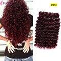 7a Unprocessed Virgin Hair Burgundy Brazilian Deep Wave 3 Bundles 99j Brazilian Hair Loose Deep Wave 100% Human Hair Weaving