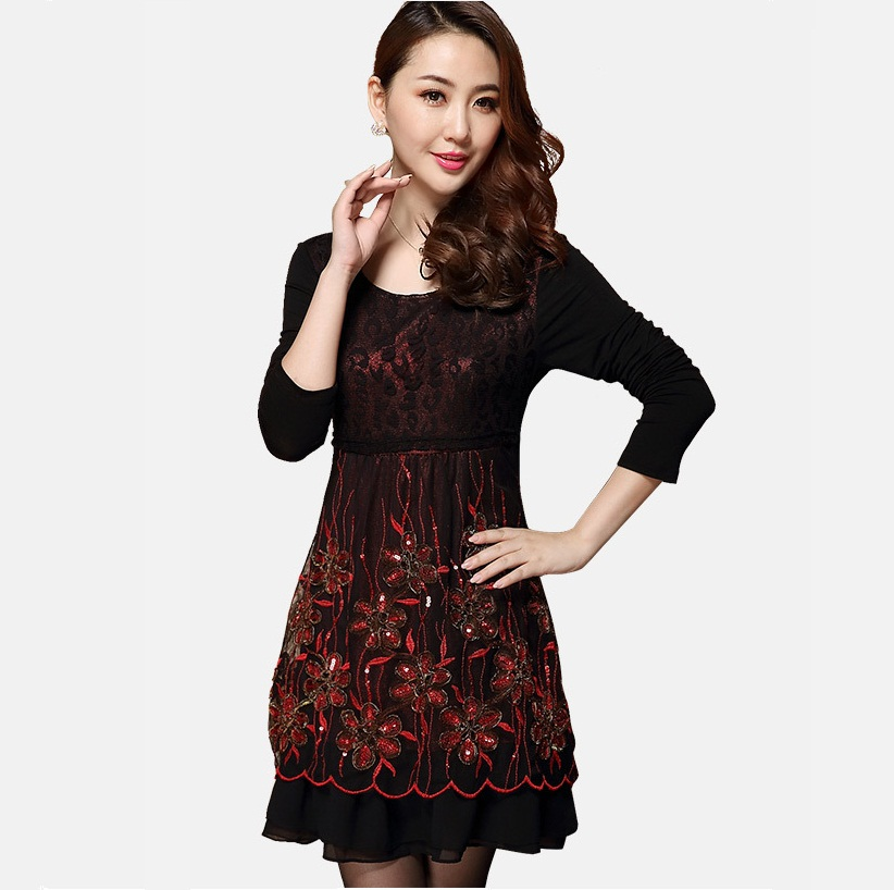 New 2015 Plus Size Women Lace Embroidery Elegant Dress long Sleeve middle age Dress casual vestidos autumn winter dress XXXXXL