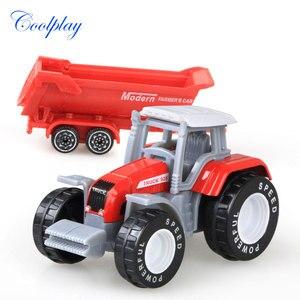 Image 4 - Die cast Farm Vehicles Mini Car Model Engineering Car Model Tractor Engineering Car Tractor Toys Model for Kids Xmas Gift