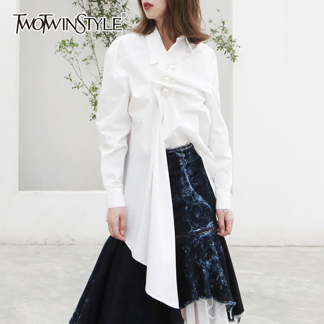 TWOTWINSTYLE Pearls Shirt Female Lapel Collar Ruched Patchwork Irregular White Long Blouse 2019 Spring Fashion OL Clothing
