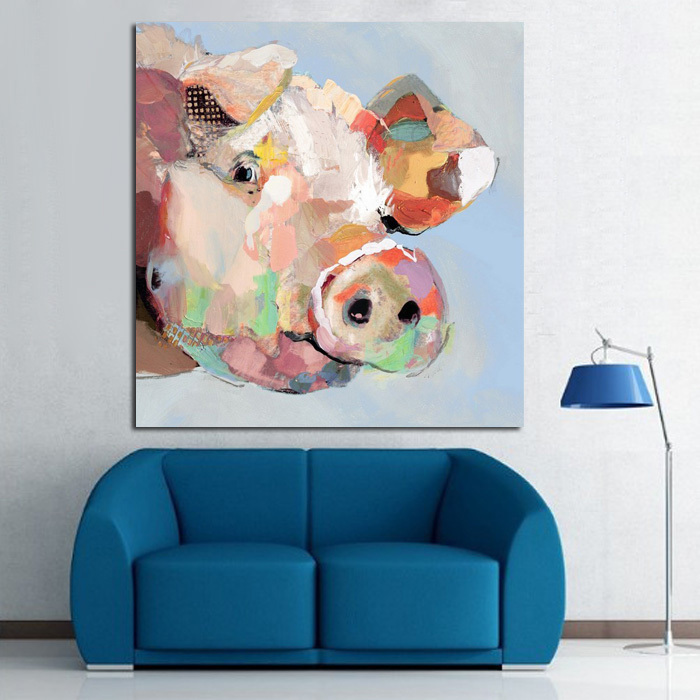Handpainted Abstract Animals Oil Painting On Canvas Wall Pictures Modern Art For Living Room Decor Lovely Pig Pictutres In Calligraphy