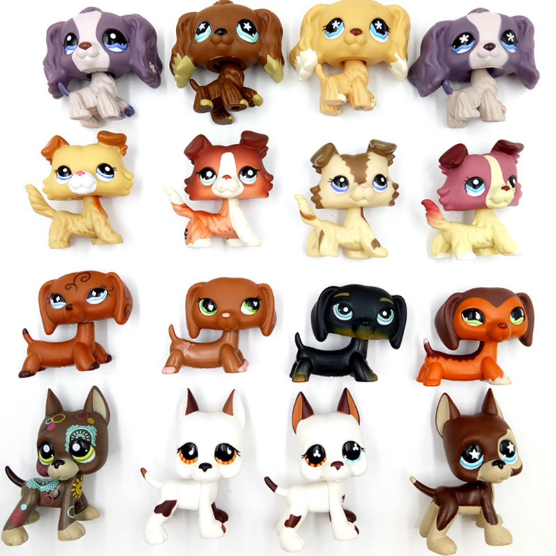 Rare pet shop lps toys dog collection real littlest short hair cat cocker spaniel collie dachshund Great Dane collectible gifts