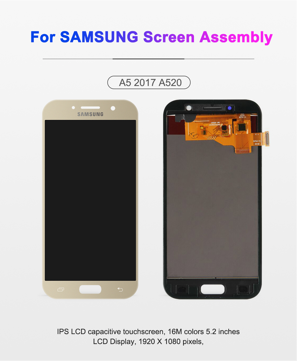 HTB1uGd2J9zqK1RjSZFLq6An2XXaz 100% Test 5.2'' For SAMSUNG GALAXY A5 2017 A520 SM-A520F LCD Display Touch Screen Digitizer LCD A5 2017 Assembly LCD