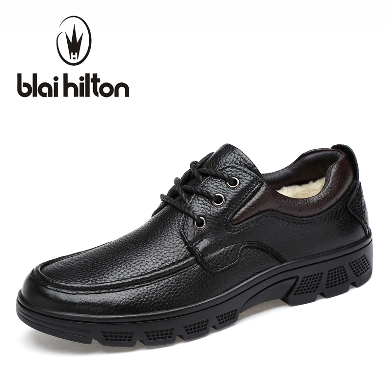 Blaibilton Luxury Formal Men Shoes Casual Winter Warm Velvet Oxford Genuine Leather Classic Male Elegant Office Business Dress