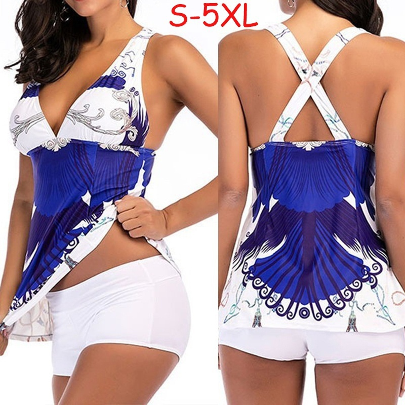 Sport Large Size Bikini Set Women Summer Printed Swimming Suit Tankini Plus Size Swimwear Two Piece Print Push Up Swimsuit XXXXL two tone backless skirted tankini set