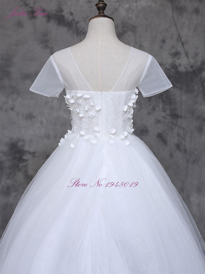 2017 Vestidos De Novias s malým 3D květinovým krátkým rukávem A - Svatební šaty - Fotografie 6