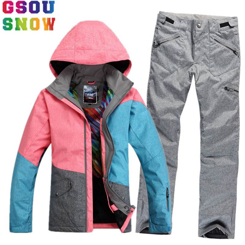 GSOU SNOW Brand Ski Suit Women Waterproof Ski Jacket Snowboard Pants Winter Mountain Skiing Suit Female Outdoor Sport Clothing gsou snow waterproof ski jacket women snowboard jacket winter cheap ski suit outdoor skiing snowboarding camping sport clothing