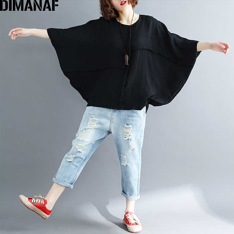 DIMANAF Frauen Bluse Shirts Sommer Plus Größe Batwing Verstärktes Solide Vintage Weibliche Lose Beiläufige Baumwolle Tops Große Kleidung 2018