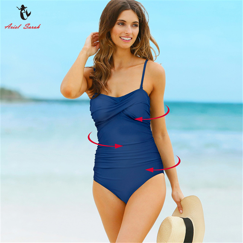 ariel sarah luxury women plus size swimwear solid one piece