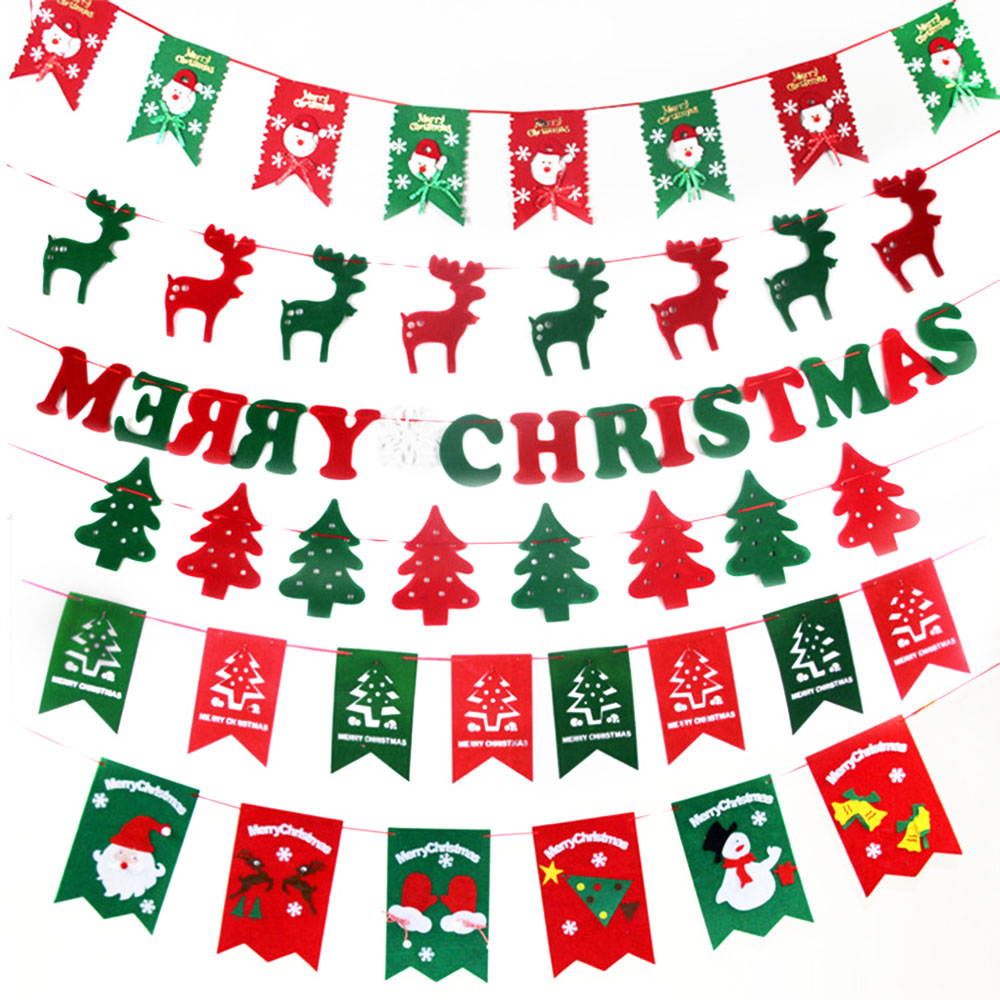 christmas decorations for home garland bunting banner hanging flag xmas party decoration new year party supplies hg0180 - Hanging Garland Christmas Decorations