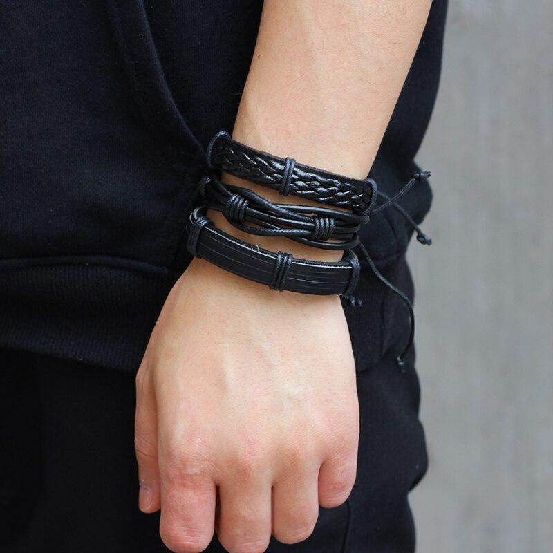 LASPERAL Vintage Multilayer Leather Bracelet Fashion Handmade Braid Black Male Bracelets & Bangles Punk Wrap Bracelets Men Gifts