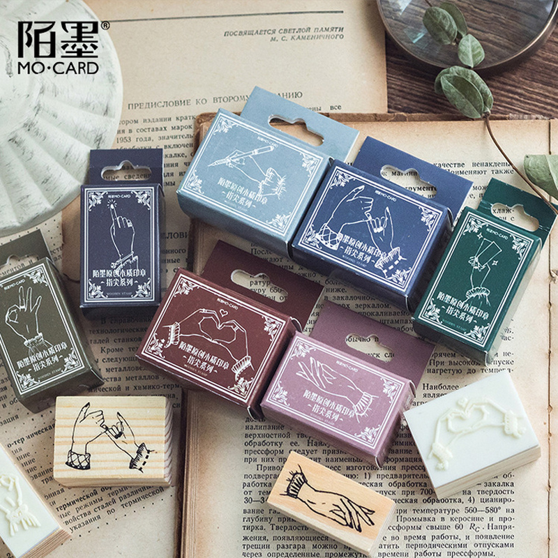 Creative Gesture Wood Wood Stamp DIY Wooden Rubber Stamps For Scrapbooking Stationery Standard Stamp