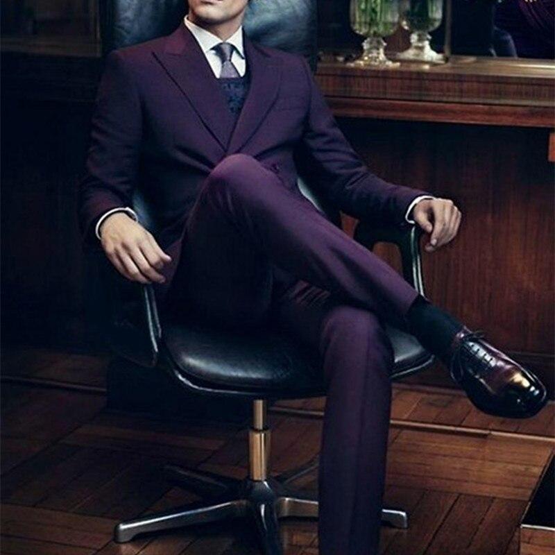 double breasted men suits costume homme 2017 dark purple. Black Bedroom Furniture Sets. Home Design Ideas
