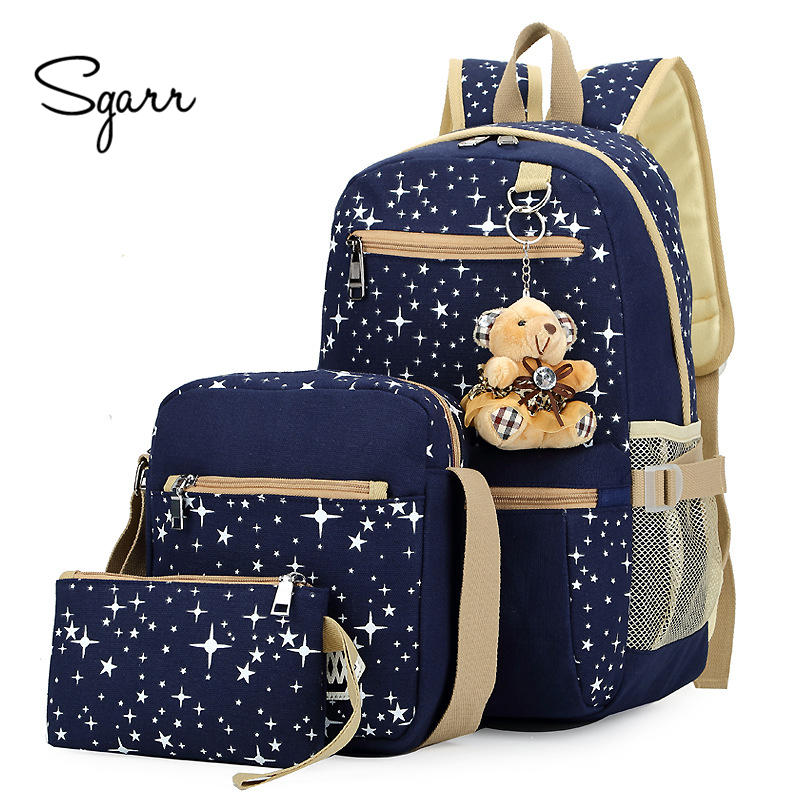 SGARR Fashion 3 Pieces Sets Women Canvas Backpack Star Printing Students School Bags For Teenage Girls Casual Female Travel Bag women canvas stripe shoulder bags casual capcity multifunction backpack students school bags