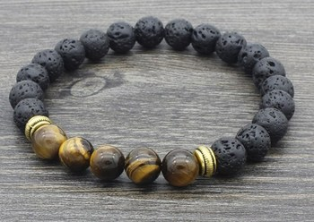 8mm  re34 elastic adjusted black volcanic lava Bracelet Stone bead essential oils diffuser agate turquoise yellow Tigerey