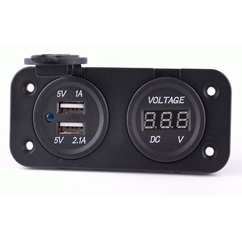 Digital Car Voltmeter Voltage Monitor With 3.1A Dual USB Charger Power Adapter Waterproof Motorcycle Ship RV Chargers Panel