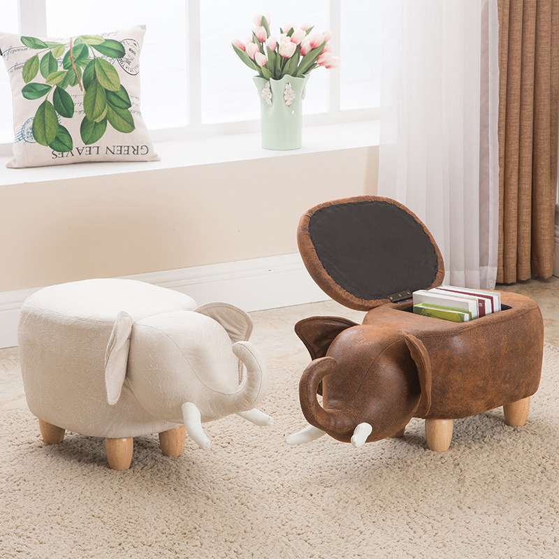 Cute Elephant Cow Animal Wooden Stool Footstool Home Furniture Living Room Seat with Storage Space Chair