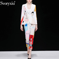 Svoryxiu Autumn Designer Fashion Two Piece Set Women's Long Sleeve Blazers + Ankle Length Pants Abstract Printed Suit Set