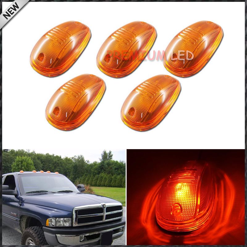 5pcs Classic Amber Bulb In Cab Roof Top Marker Running