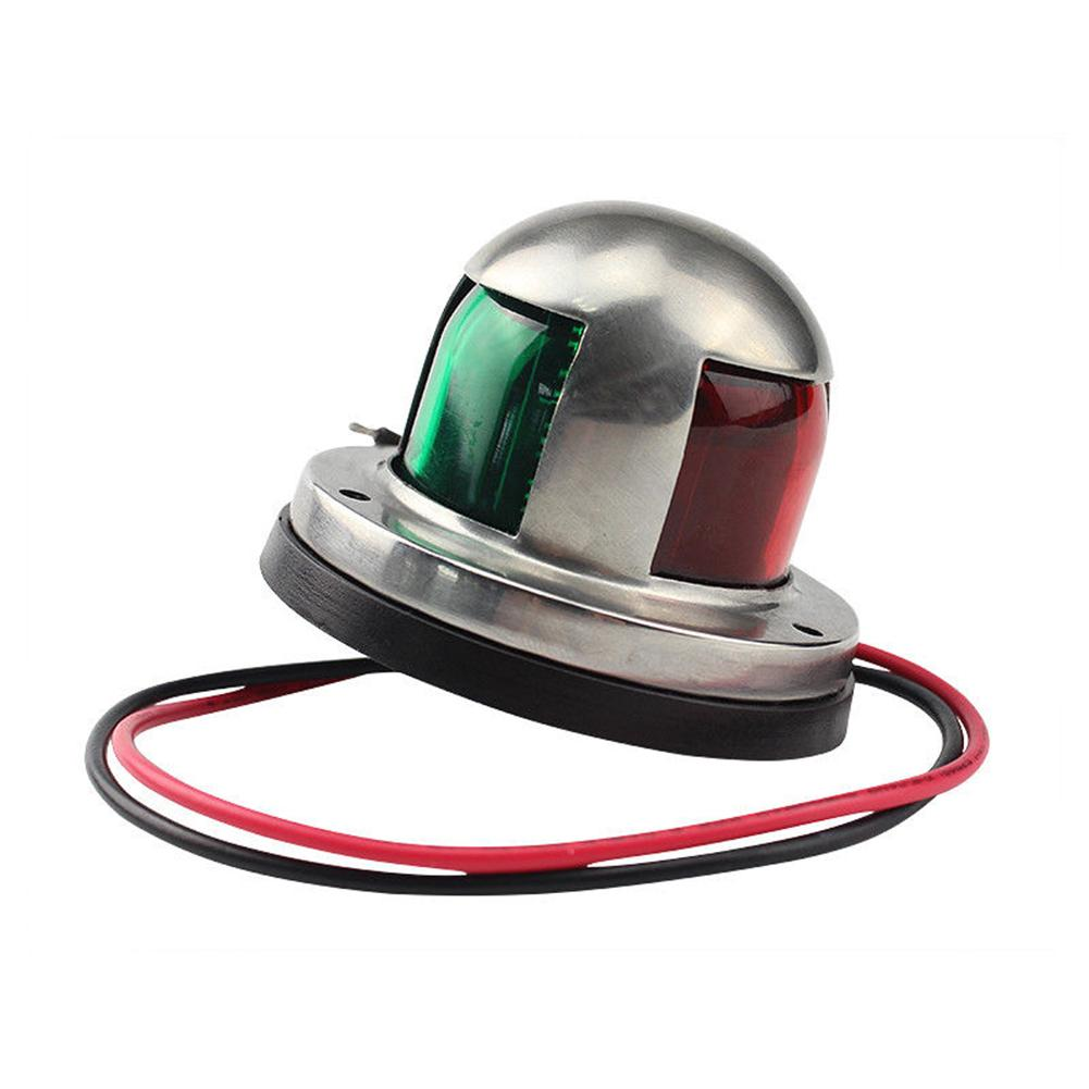 Stainless Steel 12V Boat Marine Yacht Sailing Red Green Bow Navigation LED Warning Light Signal Lamp