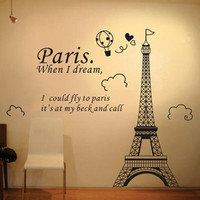 New 2015 Paris Eiffel Tower Wall Sticker Removeable Paris Tower Coffee Shop Wall Decal PVC Living