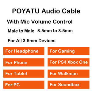 Image 5 - POYATU 3.5mm Gaming Mic Audio Cable With Boom Microphone Universal Volume For Gaming PS4 Xbox One PC Laptop Iphone Android Cable