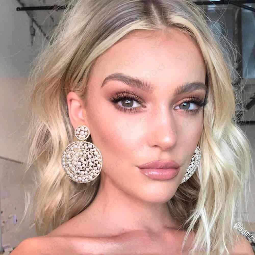 GODKI luxe simulé perle Dangle boucles d'oreilles à la mode cubique Zircon fête de fiançailles Dubai or boucles d'oreilles pour les femmes 2019