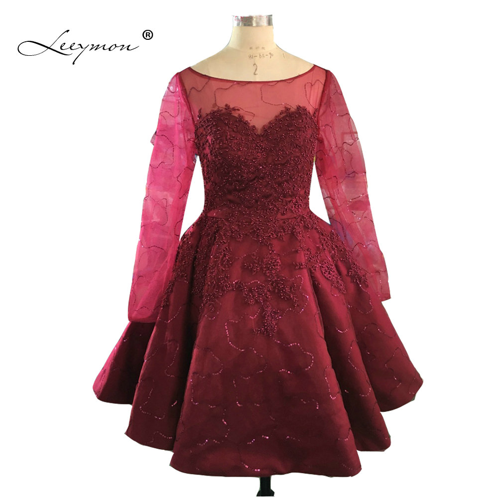 Burgundy Long Sleeves Beading Cocktail Dress 2019 Knee Length Lace Cocktail Party Dress Vestidos Coctel 2019 CK01
