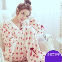 Pregnant women coral fleece pajamas autumn winter sets nursing postpartum han edition to go lili thickening and wool in winter