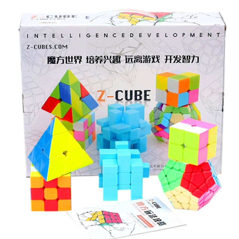ZCUBE 5pcs/Set Colorful Magic Cube 12 - Sides & Mirror Cube& 2x2 Cube & 3x3 Cube Speed Stickerless Puzzle Toy Gifts z cube bundle black knight 2x2 3x3 4x4 5x5 speed cube set cube pack puzzle carbon fiber cube magic fidget toy gift box