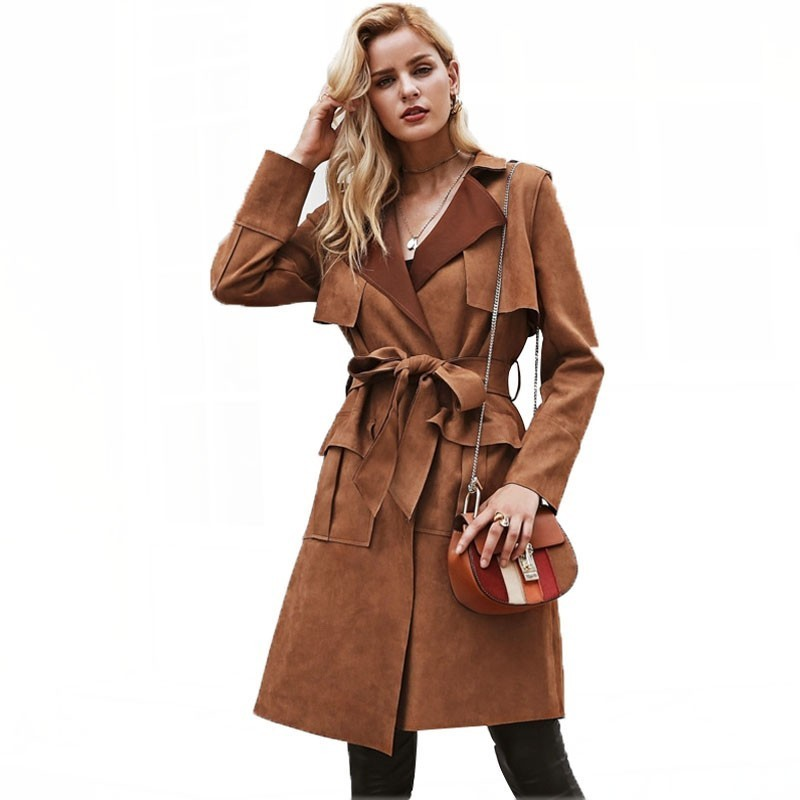 Winter   Trench   Coat female Turn down collar Vintage sash suede   trench   coat Casual leather pocket long women autumn outwear FY19
