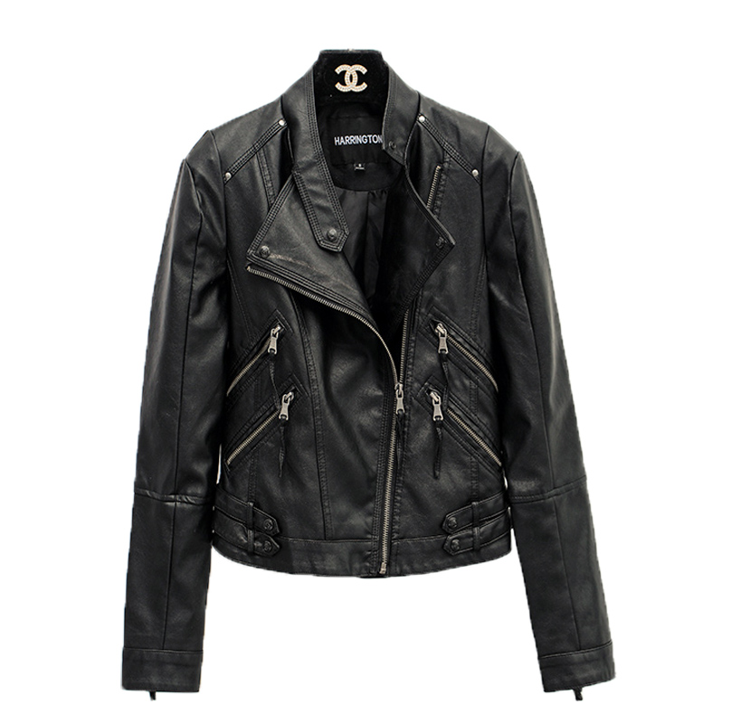 JIAX Mens Multi-Zipper Motorcycle Black Punk Stand Collar Faux Leather Jackets