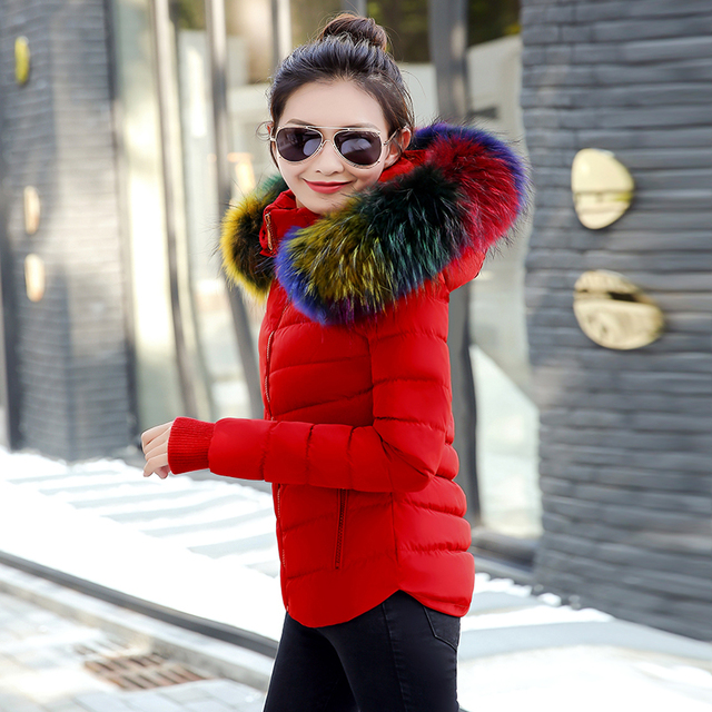 Parka נשים אופנה נשים למטה מעיל מעילי נשים של חורף מעיל הלבשה עליונה נשי מעיל רב צבע מלאכותי פרווה צווארון