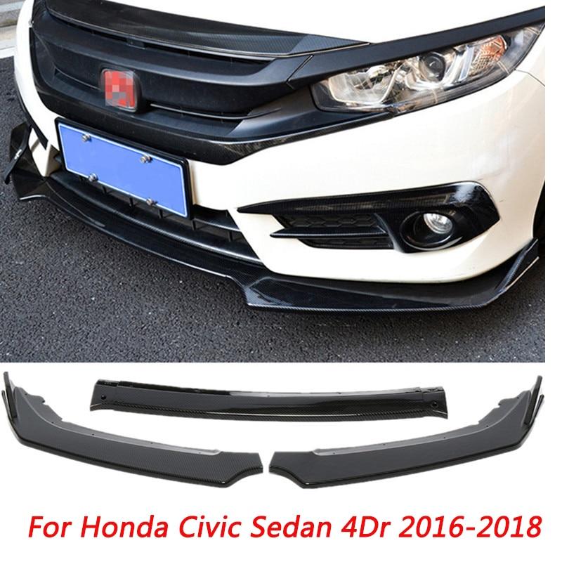 3 pièces/ensemble noir voiture pare-chocs avant diffuseur lèvre corps Kit protecteur becquet pare-chocs pour Honda Civic berline 4Dr 2016 2017 2018