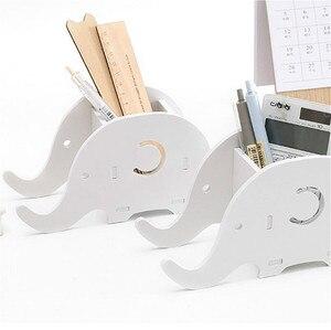 Image 3 - クリエイティブ多機能デスクトップ木製受信ボックス象携帯電話ブラケットハンドセットペンホルダーオフィス家の装飾スタッフ