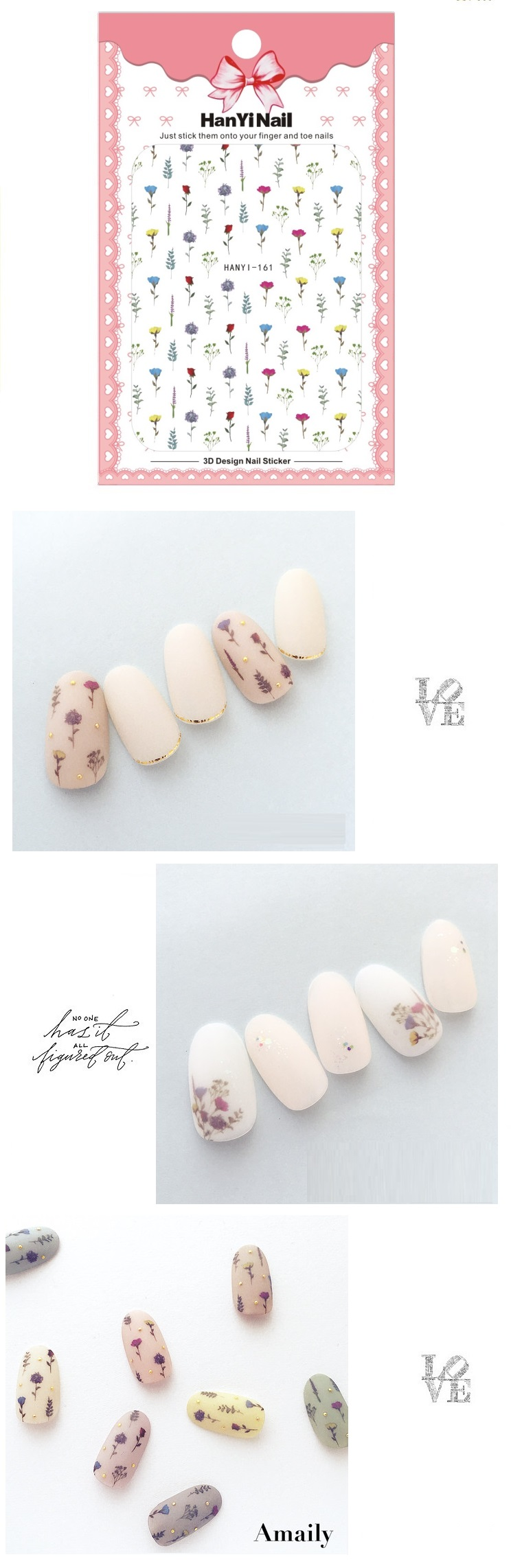 Decal decorations design nail sticker for nails tips beauty hanyi161