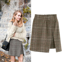 Зима Европейский стиль новые женские асимметричные юбки плюс размер XL-4XL женская элегантная юбка Уличная Шерсть и смешанная брендовая одежда
