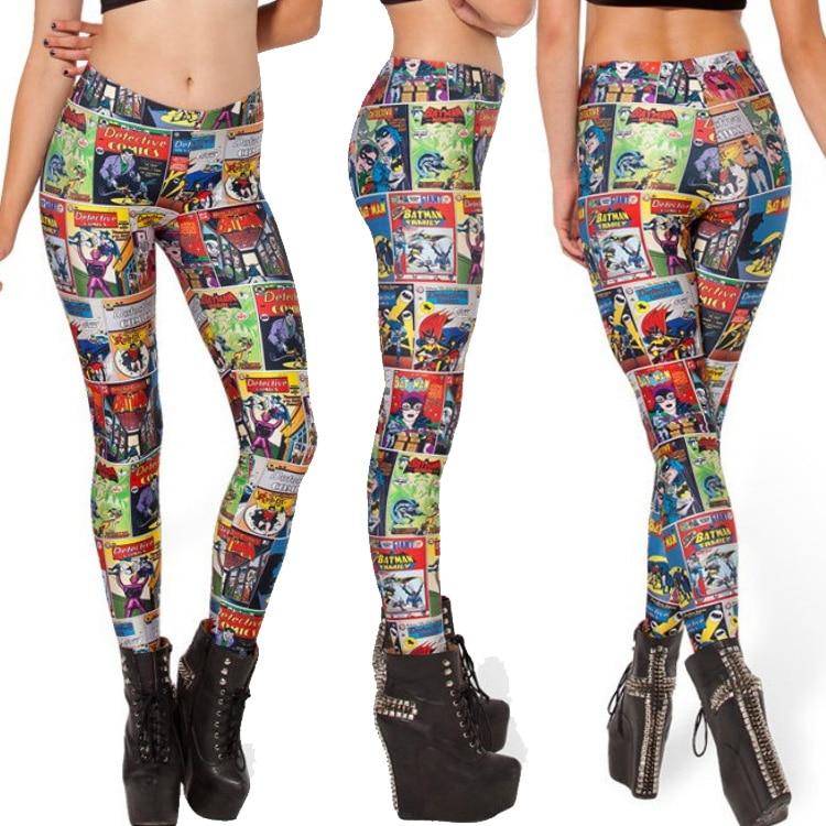 Sexy costume Women Golden Age Digital Printed Leggings Elastic Shinny Trousers Free shiping