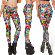 Sexy costume Women Golden Age Digital Printed Leggings  Elastic Shinny Trousers  Free shiping