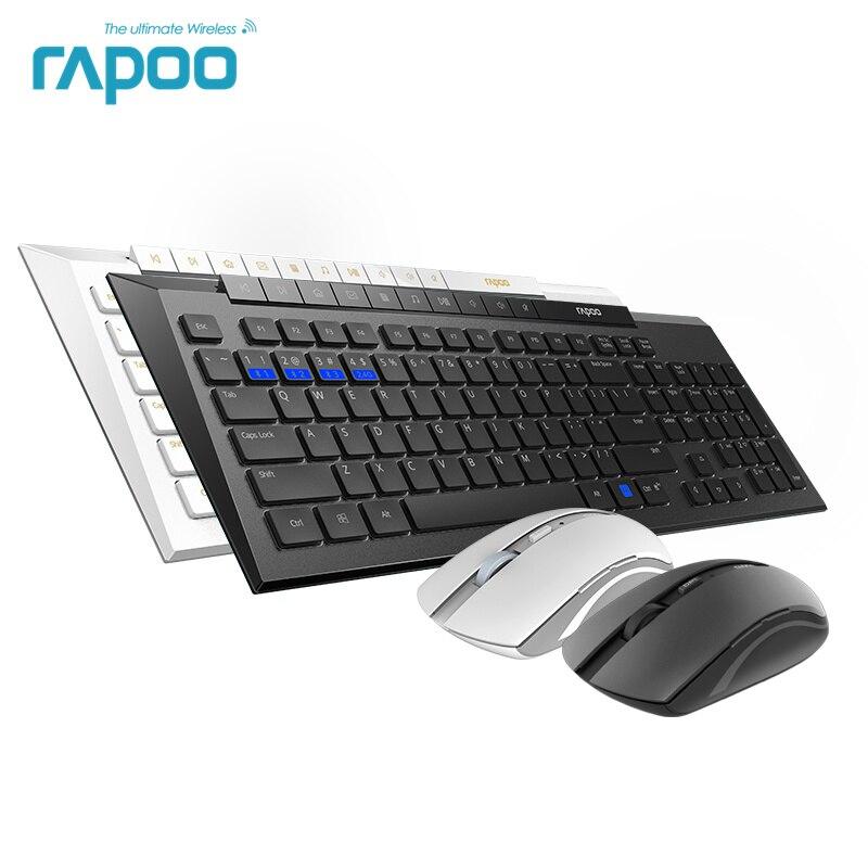 New Rapoo 8200 m Multi-modalità Silenzioso Wireless Combo Tastiera e Mouse Bluetooth 3.0/4.0 RF 2.4g interruttore tra 3 dispositivi di Connessione