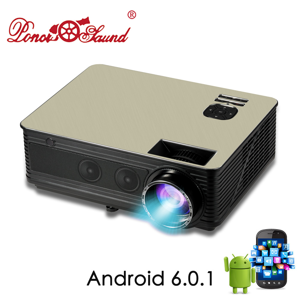Poner Saund M5 LCD LED Projector 4500 Lumen Built-in Android 6.0 WiFi Bluetooth Full HD Projector 1080P HDMI VGA USB Proyector